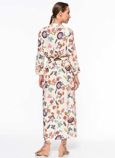 Setre Çiçekli Uzun Elbise Mercan